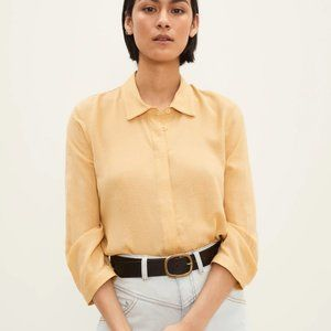 Frank and Oak Placket Blouse in Straw Yellow Large